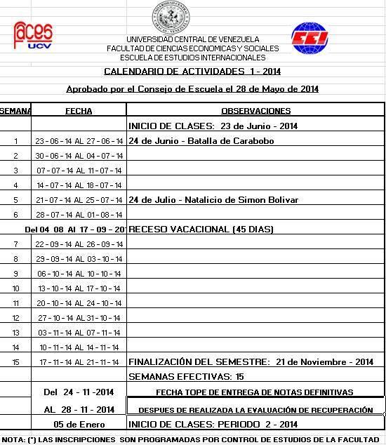 Calendario Académico 1-2014